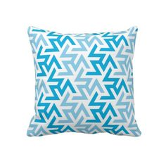 Blue and White Geometric Pattern Throw Pillows