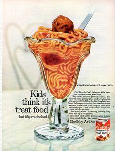 Vintage 1968 Chef Boy-Ar-Dee Spaghetti and Meatballs Magazine Ad Kitsch…