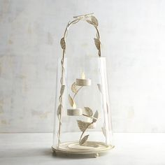 White Bird & Butterfly Tealight Candle Holder