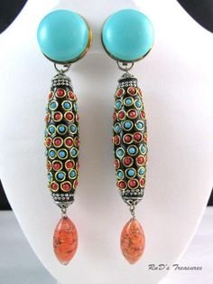 Vintage Signed GLAMOUR PAT PEND Red, Turquoise & Peach DANGLE Clip On EARRINGS
