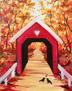 Autumn tress Heart covered bridge painting. Paint Nite events near Baltimore, MD, USA