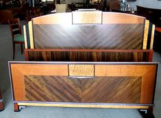 Art Deco American full size headboard, c.1930, with architectural ...