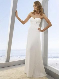 Sheath/Column Sweetheart Chiffon Floor-length Ruffles Wedding Dresses -£73.89