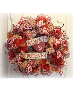 Beautiful Burlap and Red mesh Valentine wreath.