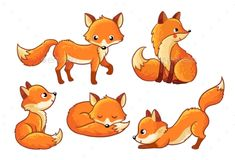 Set of cute cartoon foxes in cartoon style. Vector illustration with Isolated fo. - Set of cute cartoon foxes in cartoon style. Vector illustration with Isolated fox on a white backgr - Cartoon Cartoon, Cartoon Fox Drawing, Cartoon Images, Cartoon Styles, Cute Fox Drawing, Fuchs Illustration, Cute Illustration, Cute Animal Drawings, Animal Sketches