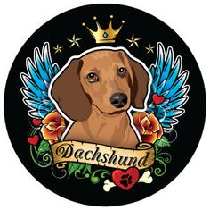 Artistic Dachshund Circle Magnet - Dachshund Rescue of North America - Doxie Store