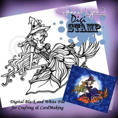 Halloween Witch Digi Stamp Coloring Page Fantasy by hannahlynnart, $3.49