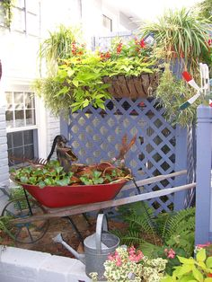 Wheelbarrow Water Garden ... <3 this repurposed old wheelbarrow, converted into a water garden feature with pump. Old tools and terracotta pots also add charm! For an edible garden, try water cress or water chestnuts that thrive in moist shallow conditions. | The Micro Gardener