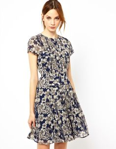 Pleated Bodice Dress in Floral by Warehouse. This is incredibly pretty!