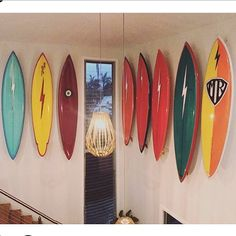 How sick is this display of Lightning Bolt Single Fin boards owned by Rick Montalva Surfboard Shapes, Surfboards, Lightning Bolt, Sick, Wave, Surfing, Patio, Urban, Display