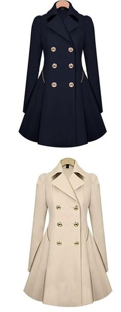 Fashion Trench Double-Breasted Slim Bodycon Wool Jacket Coat for big sale! #fashion #wool #Jacket #coat #slim