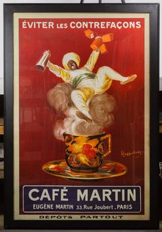 """Lot 584: (After) Leonetto Cappiello (French, 1875-1942) """"Eviter Les Contrefacons"""" Poster; Undated, printed signature lower right, depicting a man holding bricks of tea leaves floating on the steam of a teacup"""