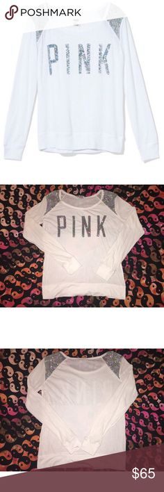 ✨VS PINK BOLD SHOULDER LONG SLEEVE GLAM SHIRT✨ NWOT Victoria's Secret PINK  literally worn once! No stains/rips/wear. Original long sleeve that's hard to find. Size US W SMALL. PINK Victoria's Secret Tops Tees - Long Sleeve