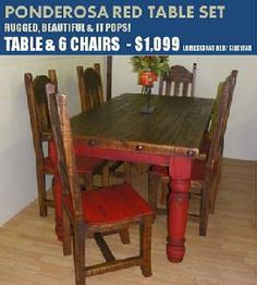 Rustic Furniture Depot Ponderosa And Antique Red Table 6 Chairs