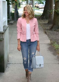 Pink peplum jacket with ripped jeans //  The Kissing Booth Blog