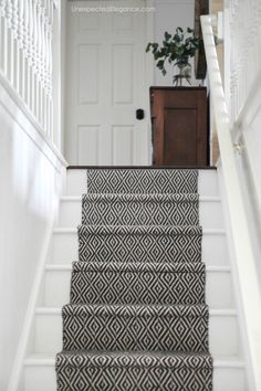 How to Replace Carpet with an Inexpensive Stair Runner - teppich Wood Stairs, Basement Stairs, House Stairs, Flooring For Stairs, Garden Stairs, Stairs And Hallway Ideas, Living Room With Stairs, Entryway Stairs, Stairs