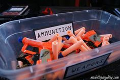 scavenger hunt leads to box of ammo. each spy gets a tiny nerf gun (concealable weapon!)