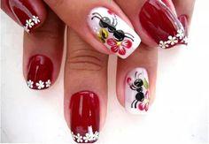 Ants and Bees Style Nail Arts By nail polish Great Nails, Cute Nails, Nail Polish Style, Cute Spring Nails, Animal Nail Art, Sexy Nails, Girls Nails, Flower Nails, Beautiful Nail Art