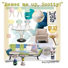 """""""""""Eames me UP, Scotty!"""": Pattern It UP Contest Entry"""" by spotlight918 ❤ liked on Polyvore featuring interior, interiors, interior design, home, home decor, interior decorating, Missoni Home, Rove Concepts, Ciel and West Elm"""