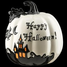 Let everyone know what time of year it is with this Happy Halloween pumpkin decoration. This bright white table piece has a gloss finish. and it features a spooky haunted house motif painted in contrasting black with orange highlights. Skull Pumpkin, Spooky Pumpkin, Pumpkin Faces, Halloween Pumpkins, Pumpkin Carving, Pumpkin Painting, Pumpkin Crafts, White Pumpkins, Painted Pumpkins