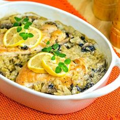 What to do when there's an abundance of orzo in the house? Make Lemon Chicken Oreganata Casserole. This baked lemon chicken recipe is a refreshing chicken dinner. Traditional Oreganata is made with seafood, but this version is made with chicken and is less tart than chicken piccata. The orzo gives the casserole a nice base and fills out the dish nicely.