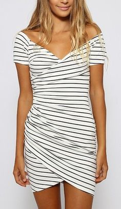 White short sleeve striped dress - perfect for so many occasions.