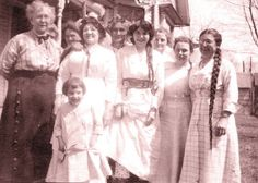 """Overall Club Sterling Illinois. Written on back of picture; """"Mrs Mingle, I wish I could step in with my overalls on. Did you know I started the first overall club in Sterling, Illinois? Mrs. Deets."""