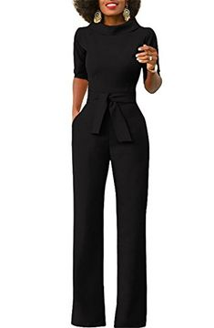 0e98274d37b Kstare Dresses Womens Elegant Wide Leg Work Jumpsuits Long Fitted Romper  Pants Half Sleeve with Belt