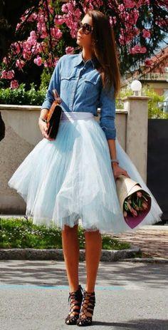 Tutu for big girls on the town - Katrin Kafta Ice Blue Midi Full Tulle Skirt