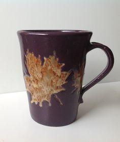 Purple+Handmade+Pottery+Mug+with+Maple+Leaf+by+SpicedEarthPottery,+$21.00