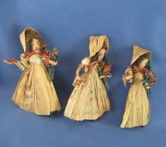 Dionne Quintuplets Marie, Yvonne, and Ceci Cornhusk Dolls c 1940's