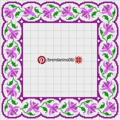 Cross Stitch Borders, Cross Stitch Rose, Fillet Crochet, Embroidery Motifs, Cornice, Diy And Crafts, Crochet Patterns, Bullet Journal, Floral