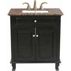 @Overstock - This vanity has soft close hinges, is constructed with solid wood in a rich black finish.  http://www.overstock.com/Home-Garden/Marisa-Single-sink-Bathroom-Vanity/6246569/product.html?CID=214117 $697.62