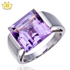 Hutang Fashion Rings Natural 12.0mm Star Amethyst Gemstone Solid 925 Sterling Silver Ring Lady Fine Jewelry Women Rings Gift #Affiliate