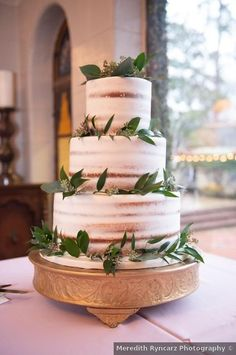 Wedding cake ideas - naked, greenery, half frosted, three tier, winter, classic {Meredith Ryncarz Photography}