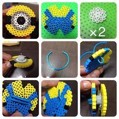 Minion earbud holder perler beads by ringo_0122