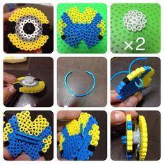 Minion earbud holder perler beads by Perler Bead Templates, Pearler Bead Patterns, Diy Perler Beads, Perler Patterns, Hamma Beads 3d, Peler Beads, Fuse Beads, Minion Pattern, Papier Diy