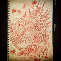 07022016 #draweveryday #hawk #eagle #鷹 #pine #松... | HORITSUGU TATTOO