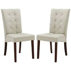 Button-tufted Parsons chairs with rubberwood frame.Product: Set of 2 dining chair    Construction Material: Twill, foam and rubberwood    Color: Beige    Features: Chic tuftingExposed wooden legs  Dimensions: 38 H x 18 W x 24.4 D each