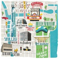 42 Best Map//Art images | Chicago map, Illustrated maps, Map of