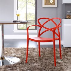 Modway Enact Dining Armchair in Red