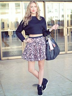 Mini Skirt & Crop Top Outfit fashion sneakers summer fashion mini skirt outfit crop top tennis shoes street style