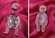 Mohair monkey compact by renowned German toy company Schuco. C. 1920s Head comes off to reveal a lipstick holder, and his body opens up to reveal a mirror on one side and powder compact on the other side.