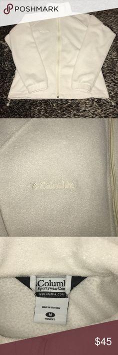White Columbia Zip Up Sweatshirt Size medium, in excellent condition!! Columbia Tops Sweatshirts & Hoodies