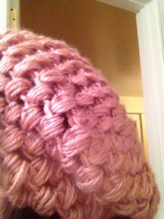 Another angle of the puff stitch slouch beanie