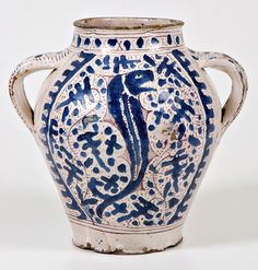 Ceramica fiorentina - Giunta di Tugio - Vaso biansato dipinto a zaffera - 1430 c. - Museo internazionale delle ceramiche in Faenza