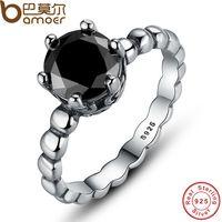 Bamoer Genuine 100% 925 Sterling anel de prata com preto Cubic Zirconia para mulheres jóia do casamento PA7109