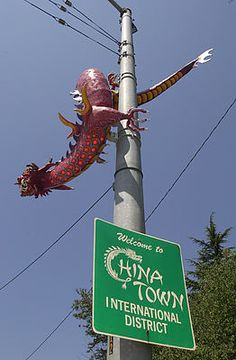 Dragon sculpture in International District, Seattle.