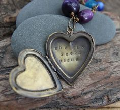 she who seeks peace, a soul mantra locket necklace