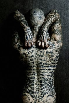 quote Black and White piercings Model tattoos ink rick genest RICO THE ZOMBIE angelyn-insparition Rick Genest, Full Back Tattoos, Full Body Tattoo, Body Art Tattoos, Tatoos, Tattoo Ink, Female Tattoos, Spine Tattoos, Shoulder Tattoos